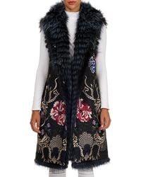 Gianfranco Ferré - Reversible Embroidered Fox-fur Vest - Lyst