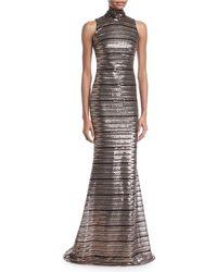 Badgley Mischka - Sleeveless Striped Sequin Trumpet Gown - Lyst
