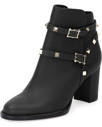 Valentino - Rockstud Leather 70mm Chunky-heel Bootie - Lyst
