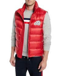 d1b55fb9eb91 Lyst - Moncler Dupres Quilted Puffer Vest in Red for Men