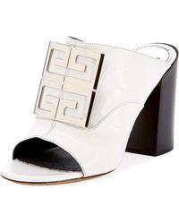 Givenchy - Leather 4g Logo 90mm Slide Sandals - Silvertone Hardware - Lyst