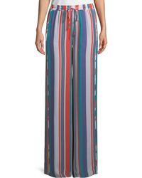 Ramy Brook - Dorota Wide-leg Striped Silk Pull-on Pants - Lyst