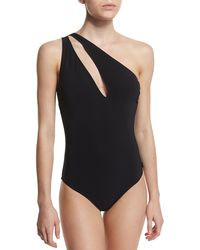 Shan - One-shoulder Slash Solid One-piece Swimsuit - Lyst