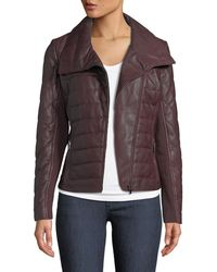 Neiman Marcus - Quilted Lamb Leather Jacket - Lyst