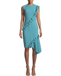 THEIA   Double-asymmetric Ruffle Crepe Sleeveless Cocktail Dress   Lyst