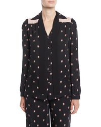 Valentino - Rosebud-print Button-front Pajama Blouse With Contrast Necktie - Lyst