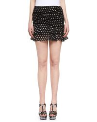 Saint Laurent | Ruffled Polka Dot Miniskirt | Lyst