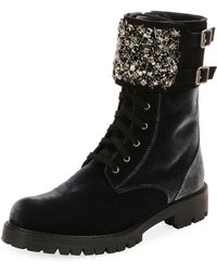 Rene Caovilla - Velvet Combat Boot With Crystal Monk Strap - Lyst