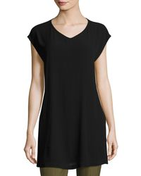 Eileen Fisher - Petite V-neck Silk Georgette Crepe Tunic W/ Pockets - Lyst