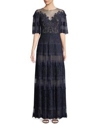 Tadashi Shoji - Nevaeh Pleated Tulle & Lace Gown - Lyst