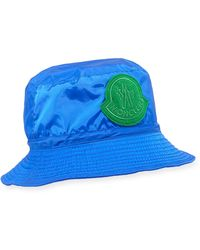 05834d32f40 Lyst - Moncler Logo Patch Bucket Hat in Pink for Men