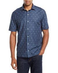 Culturata - Men's Short-sleeve Skull-print Denim Sport Shirt - Lyst