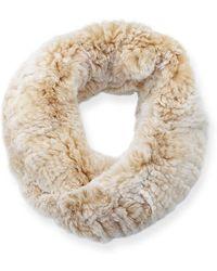 Surell - Stretch Knit Short Fur Infinity Scarf - Lyst