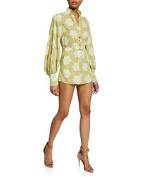 Alexis - Lashawn Printed Long-sleeve Romper - Lyst