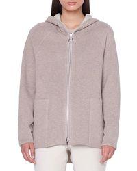 Akris - Vanda Reversible Zip-front Wool-cashmere Hoodie - Lyst