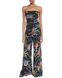 Fuzzi - Strapless Floral Jumpsuit - Lyst