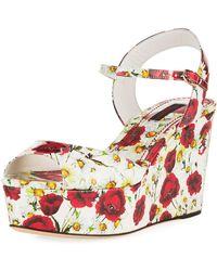 Dolce & Gabbana - Poppy Wedge Platform Sandal - Lyst
