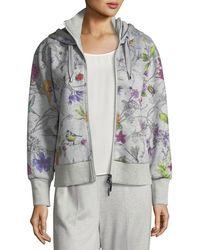 ESCADA - Floral-print Zip-front Hoodie - Lyst