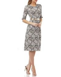 Kay Unger - Stretch Jacquard Belted Dress W/ Pockets - Lyst
