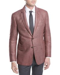 Giorgio Armani - Two-button Silk-linen Hopsack Jacket - Lyst