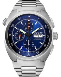 Tockr Men's 45mm Air Defender Chronograph Stainless Steel Bracelet Watch Blue