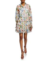 Alexis - Jaila Floral Button-up Ruffle Long-sleeve Dress - Lyst