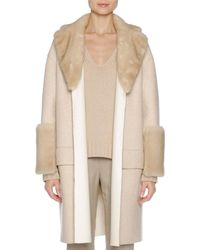 Agnona - Relaxed Cashmere Coat With Mink Fur Trim - Lyst