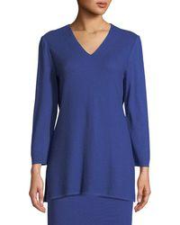 Misook - V-neck 3/4-sleeve Wool-blend Sweater - Lyst