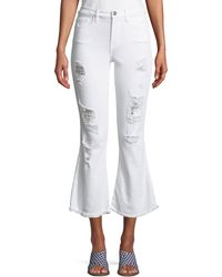 Etienne Marcel - Distressed Flare Cropped Denim Jeans - Lyst
