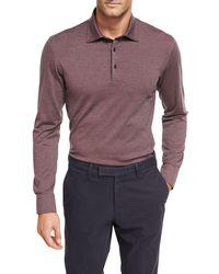 Ermenegildo Zegna - Fine-stripe Wool-cotton Long-sleeve Polo Shirt - Lyst