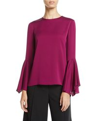 MILLY - Holly Jewel-neck Flared-sleeves Stretch-silk Top - Lyst