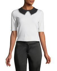 Michael Kors - Elbow-sleeve Faux-collar Cashmere Sweater With Pearlescent Trim - Lyst