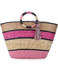 Rebecca Minkoff | Striped Woven Straw Tote Bag | Lyst