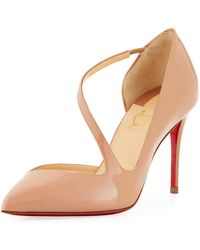 366142edacff Christian Louboutin Dollyla Patent 100mm Red Sole Pump in Natural - Lyst