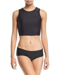Cover - Crewneck Cropped Solid Jersey Swim Top - Lyst