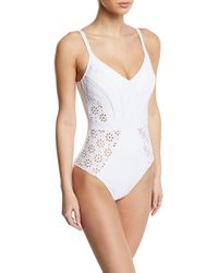 Gottex - Kiss And Tell V-neck Eyelet One-piece Swimsuit - Lyst