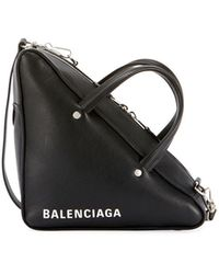 Balenciaga - Triangle Duffle Printed Textured-leather Tote - Lyst