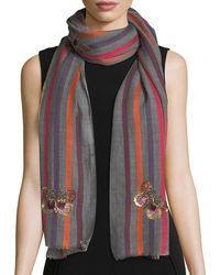 Janavi - Butterfly Wool-silk Striped Scarf - Lyst