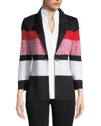 Misook - Block-striped One-button Jacket - Lyst
