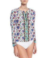 Nanette Lepore - Rosarito Zip-up Floral-print Long-sleeve Rashguard - Lyst