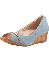 Cole Haan - Emory Grand Denim Wedge Peep-toe Pump - Lyst