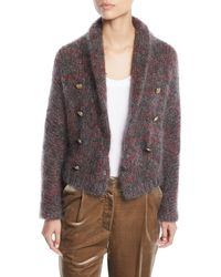 Brunello Cucinelli - Mohair-cashmere Melange Cropped Cardigan - Lyst