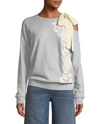 Ella Moss | Tie-shoulder Long-sleeve Pullover Sweatshirt | Lyst