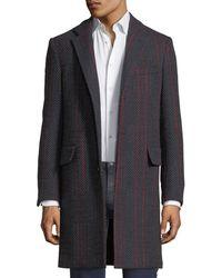 Versace - Contrast-striped Herringbone Wool-blend Coat - Lyst