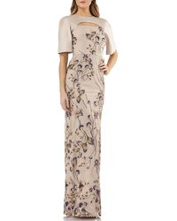 Kay Unger - Cutout Mikado & Lace Gown W/ Sequin Embroidery - Lyst