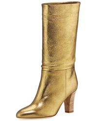 SJP by Sarah Jessica Parker - Reign Metallic Leather Block-heel Boots - Lyst