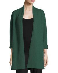 Eileen Fisher - High-collar Open-front Boiled Wool Coat - Lyst