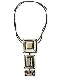 Urban Zen - Tricolor Pendant Necklace With Leather Straps - Lyst