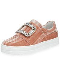 Roger Vivier - Sneaky Viv Strass Stripe Velvet Platform Sneakers - Lyst