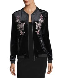 Love Scarlett - Embroidered Velvet Bomber Jacket - Lyst